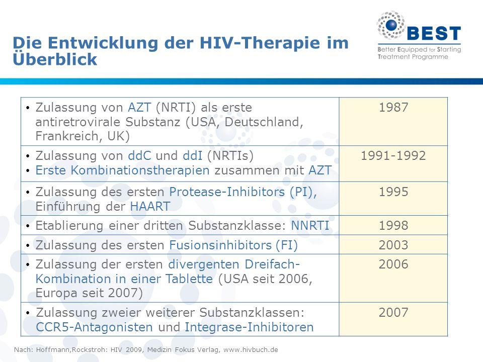 22 Die Entwicklung der HIV-Therapie im Überblick Zulassung von AZT (NRTI) als erste antiretrovirale Substanz (USA, Deutschland, Frankreich, UK) 1987 Z