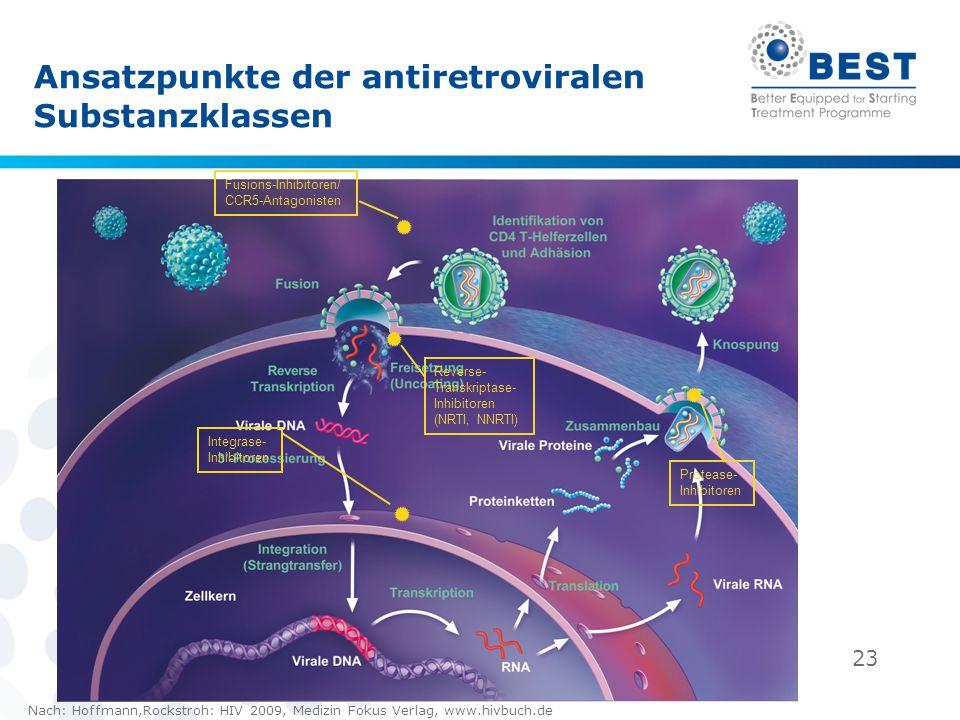 23 Ansatzpunkte der antiretroviralen Substanzklassen Integrase- Inhibitoren Reverse- Transkriptase- Inhibitoren (NRTI, NNRTI) Protease- Inhibitoren Fu