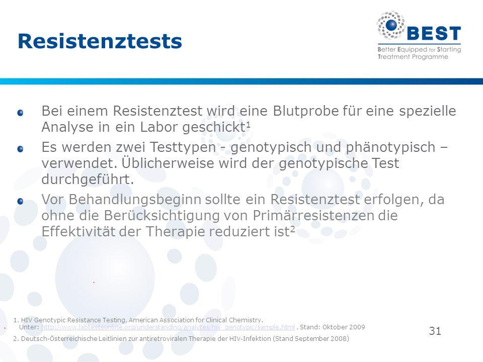31 Resistenztests Bei einem Resistenztest wird eine Blutprobe für eine spezielle Analyse in ein Labor geschickt 1 Es werden zwei Testtypen - genotypis