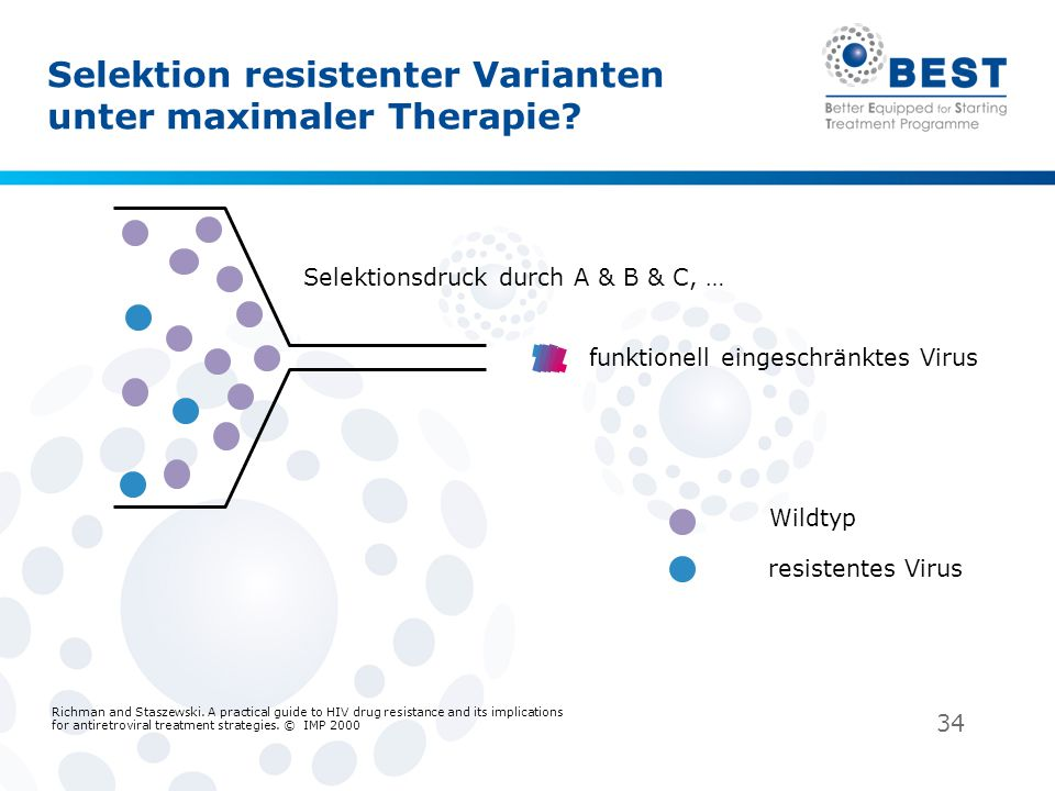 34 Selektion resistenter Varianten unter maximaler Therapie? Richman and Staszewski. A practical guide to HIV drug resistance and its implications for