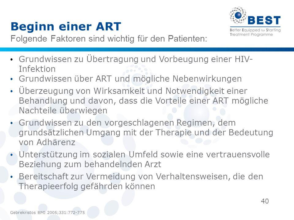 40 Beginn einer ART Folgende Faktoren sind wichtig für den Patienten: Gebrekristos BMJ 2005;331:772-775 Grundwissen zu Übertragung und Vorbeugung eine