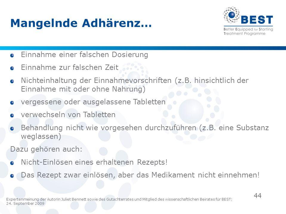 44 Mangelnde Adhärenz… Einnahme einer falschen Dosierung Einnahme zur falschen Zeit Nichteinhaltung der Einnahmevorschriften (z.B. hinsichtlich der Ei