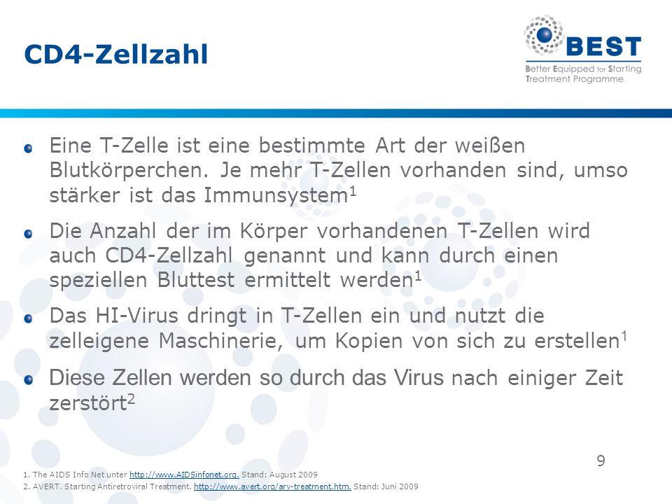 20 Antiretrovirale Therapie (ART) Ziel einer ART ist es, die Viruslast unter der Nachweisgrenze (d.
