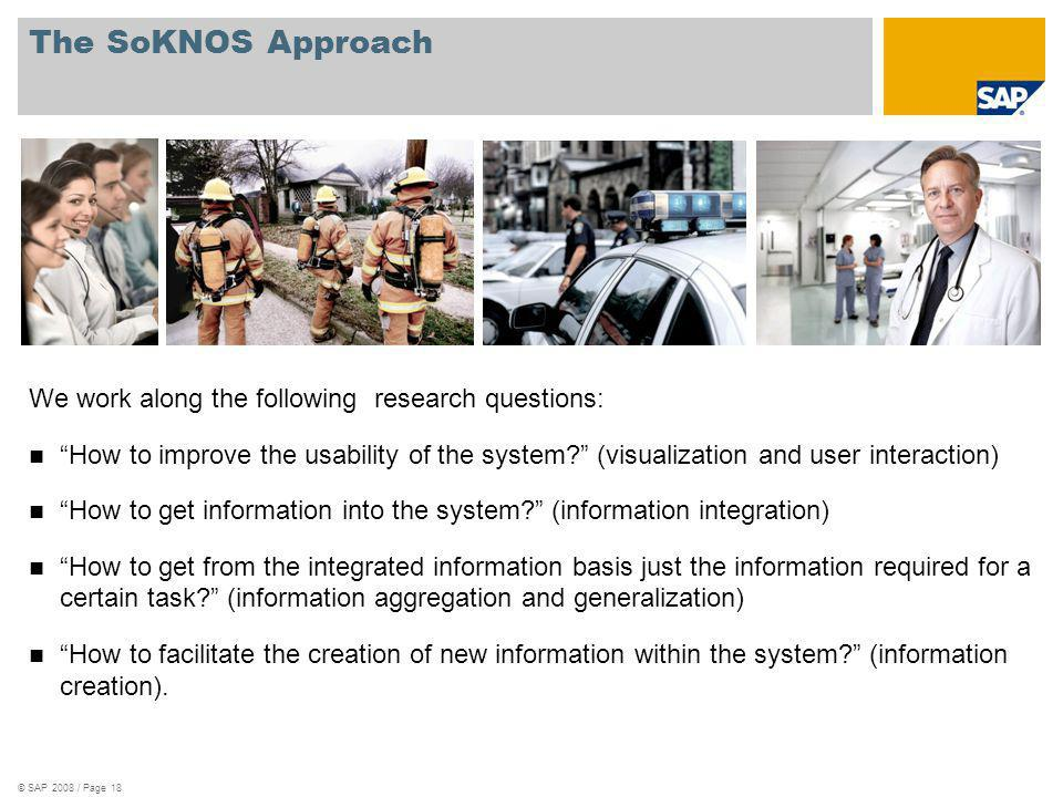 © SAP 2008 / Page 18 The SoKNOS Approach We work along the following research questions: How to improve the usability of the system? (visualization an