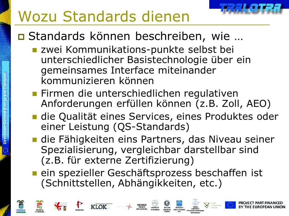 Wozu Standards dienen Standards können beschreiben, wie … zwei Kommunikations-punkte selbst bei unterschiedlicher Basistechnologie über ein gemeinsame
