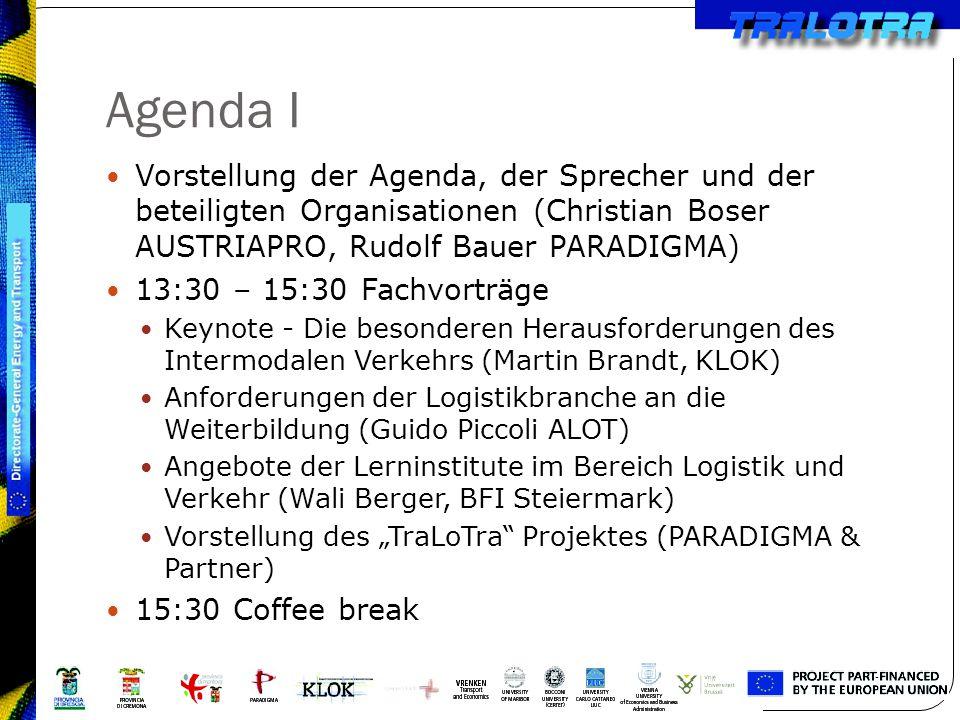 Agenda I Vorstellung der Agenda, der Sprecher und der beteiligten Organisationen (Christian Boser AUSTRIAPRO, Rudolf Bauer PARADIGMA) 13:30 – 15:30 Fa