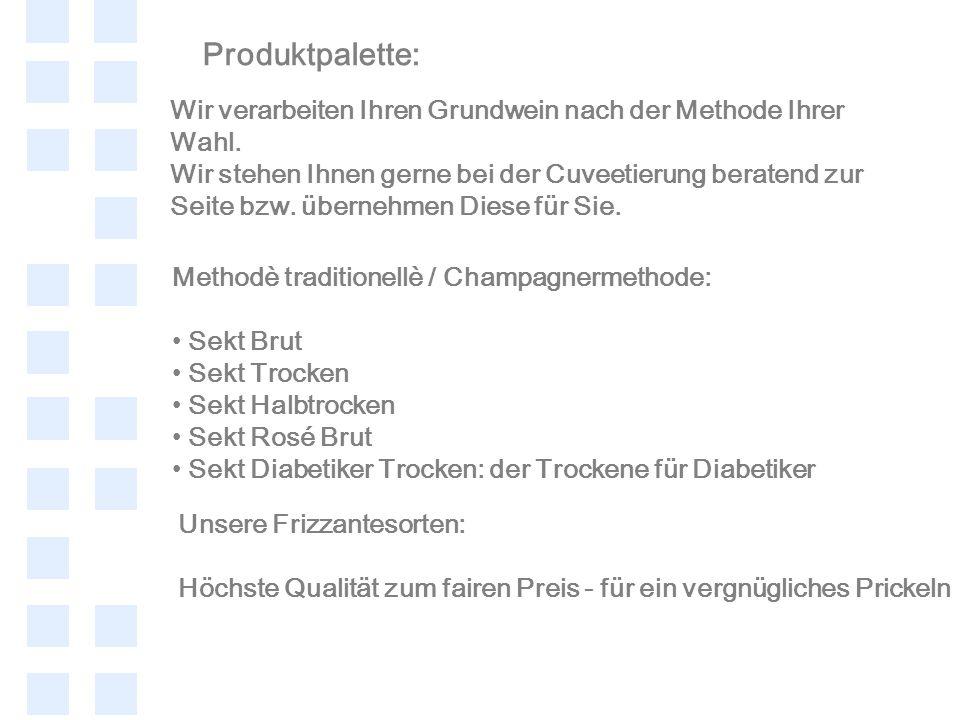 Produktpalette: Methodè traditionellè / Champagnermethode: Sekt Brut Sekt Trocken Sekt Halbtrocken Sekt Rosé Brut Sekt Diabetiker Trocken: der Trocken