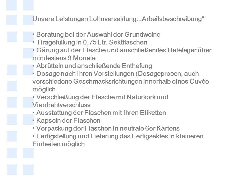 Unsere Leistungen Lohnversektung: Arbeitsbeschreibung Beratung bei der Auswahl der Grundweine Tiragefüllung in 0,75 Ltr. Sektflaschen Gärung auf der F