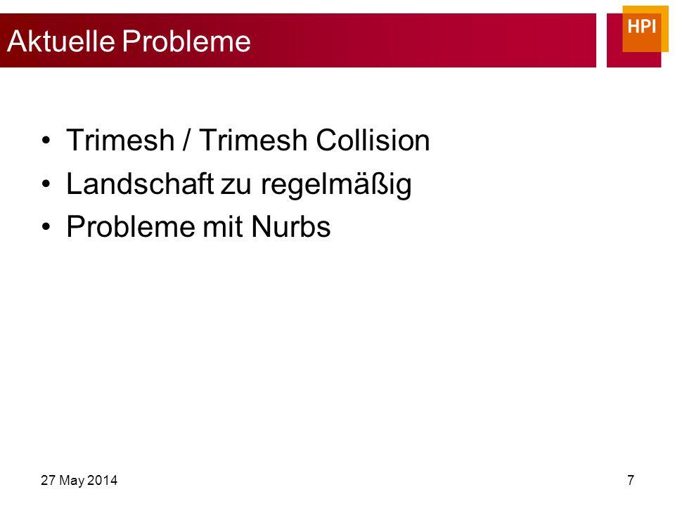 27 May 20147 Aktuelle Probleme Trimesh / Trimesh Collision Landschaft zu regelmäßig Probleme mit Nurbs