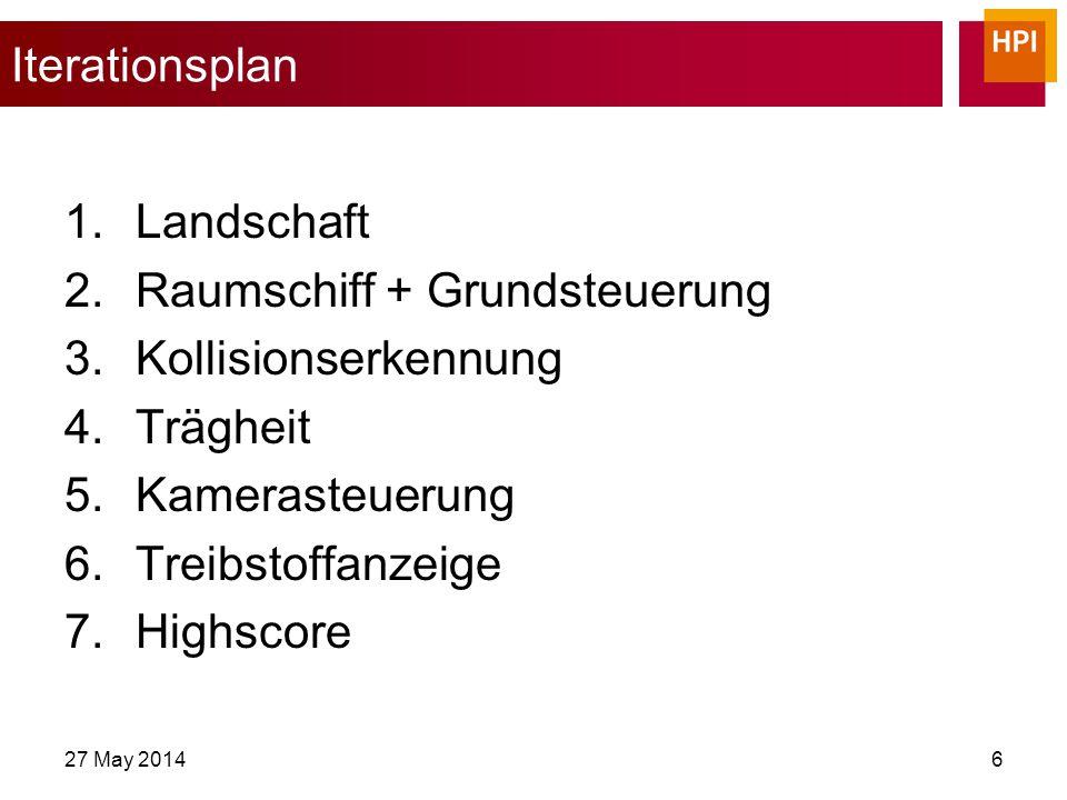 27 May 20146 Iterationsplan 1.Landschaft 2.Raumschiff + Grundsteuerung 3.Kollisionserkennung 4.Trägheit 5.Kamerasteuerung 6.Treibstoffanzeige 7.Highscore