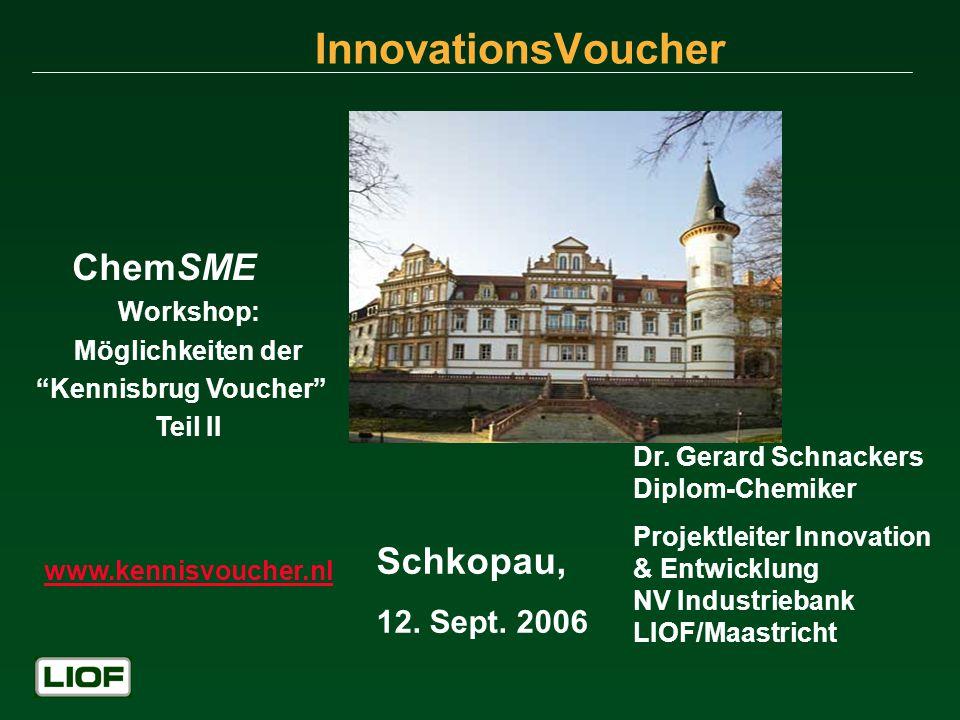 Innovationsvoucher Diskussion… Siehe Website: www.kennisvoucher.nl