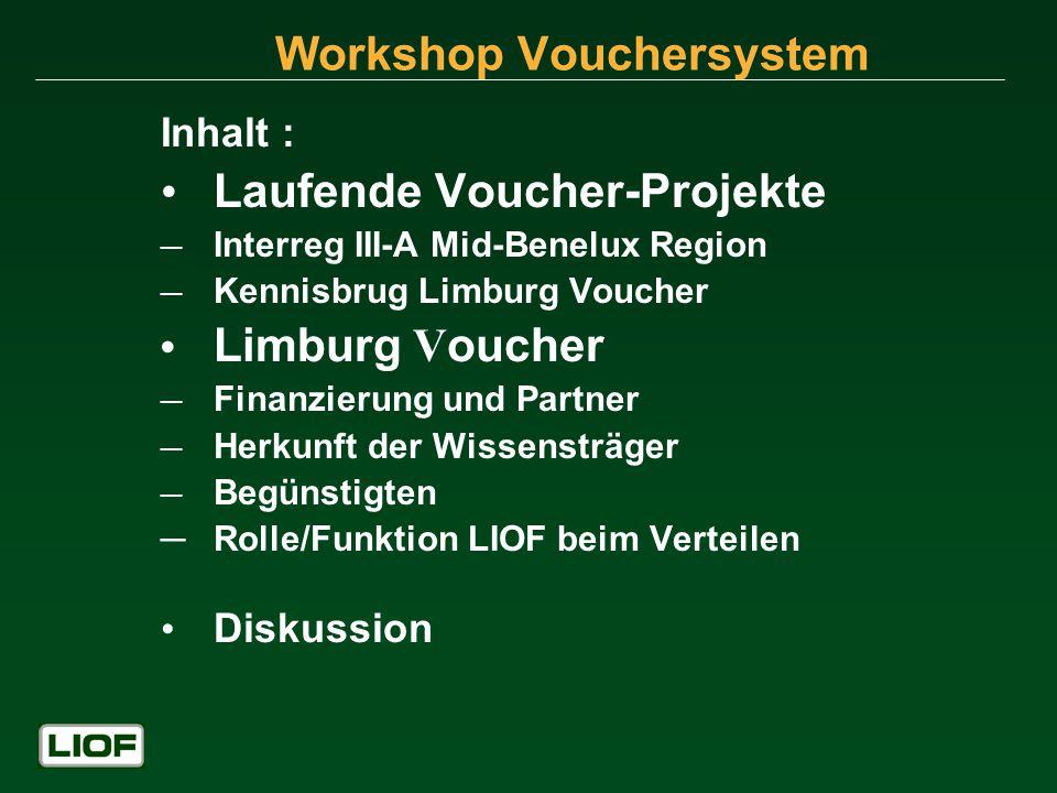 Workshop Vouchersystem Inhalt : Laufende Voucher-Projekte Interreg III-A Mid-Benelux Region Kennisbrug Limburg Voucher Limburg V oucher Finanzierung und Partner Herkunft der Wissensträger Begünstigten Rolle/Funktion LIOF beim Verteilen Diskussion