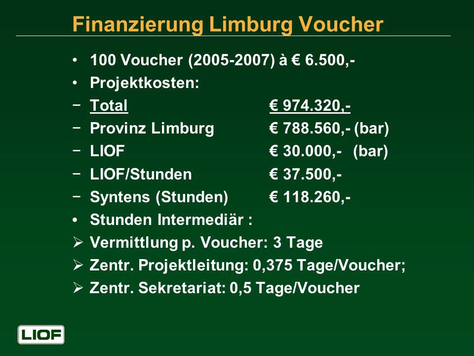 Finanzierung Limburg Voucher 100 Voucher (2005-2007) à 6.500,- Projektkosten: Total 974.320,- Provinz Limburg 788.560,- (bar) LIOF 30.000,- (bar) LIOF/Stunden 37.500,- Syntens (Stunden) 118.260,- Stunden Intermediär : Vermittlung p.