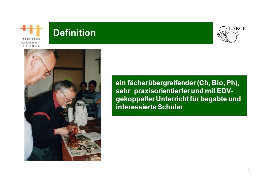 1 ein fächerübergreifender (Ch, Bio, Ph), sehr praxisorientierter und mit EDV- gekoppelter Unterricht für begabte und interessierte Schüler Definition