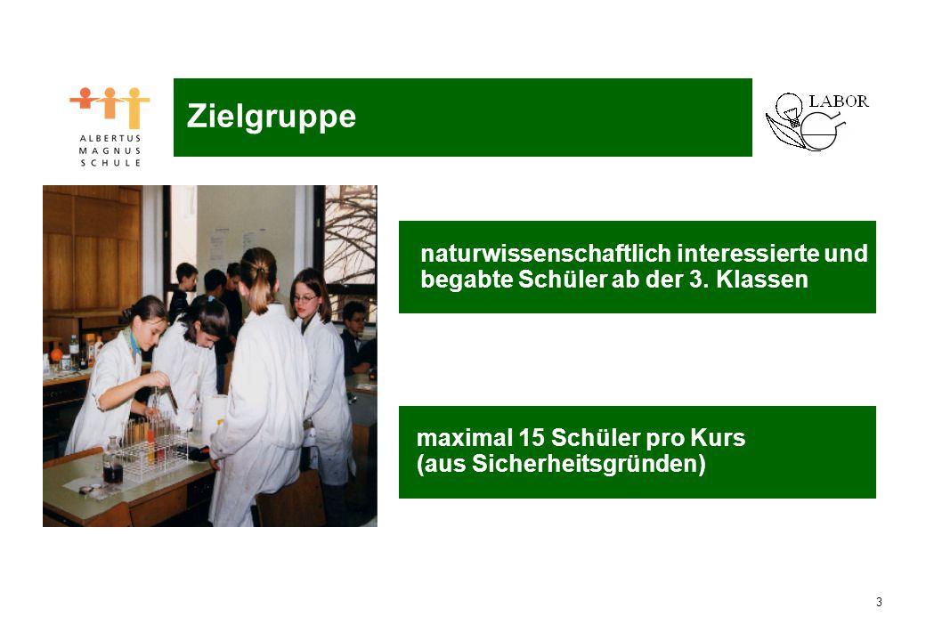 3 Naturwissenschaftliches Labor naturwissenschaftlich interessierte und begabte Schüler ab der 3. Klassen maximal 15 Schüler pro Kurs (aus Sicherheits