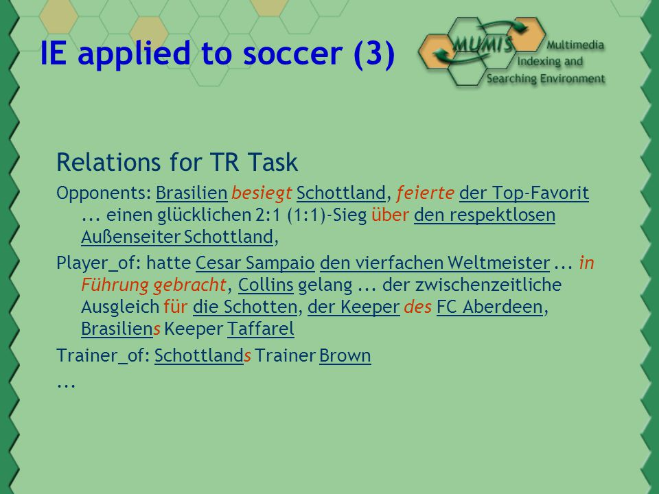 IE applied to soccer (3) Relations for TR Task Opponents: Brasilien besiegt Schottland, feierte der Top-Favorit...