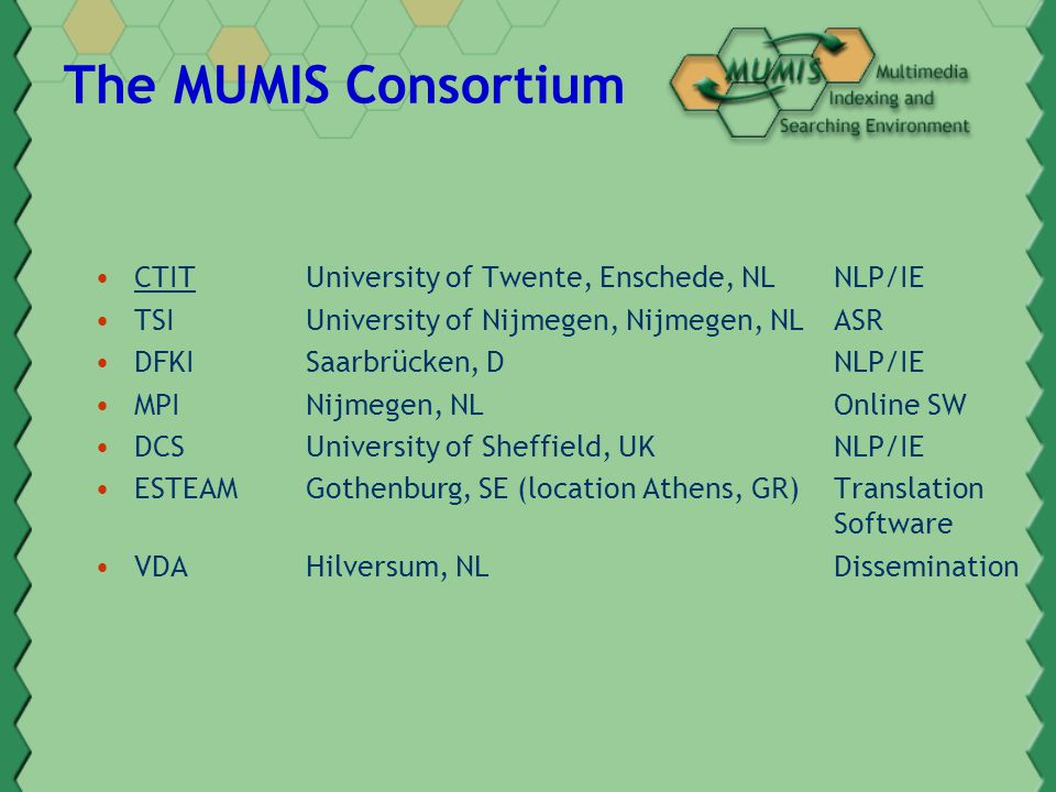The MUMIS Consortium CTITUniversity of Twente, Enschede, NLNLP/IE TSI University of Nijmegen, Nijmegen, NLASR DFKISaarbrücken, DNLP/IE MPI Nijmegen, NLOnline SW DCSUniversity of Sheffield, UKNLP/IE ESTEAMGothenburg, SE (location Athens, GR)Translation Software VDAHilversum, NL Dissemination