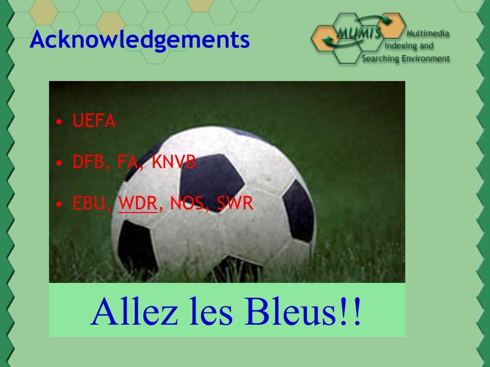 Acknowledgements UEFA DFB, FA, KNVB EBU, WDR, NOS, SWR Allez les Bleus!!