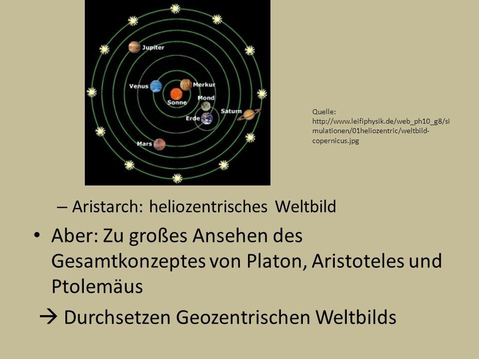 – Aristarch: heliozentrisches Weltbild Aber: Zu großes Ansehen des Gesamtkonzeptes von Platon, Aristoteles und Ptolemäus Durchsetzen Geozentrischen We