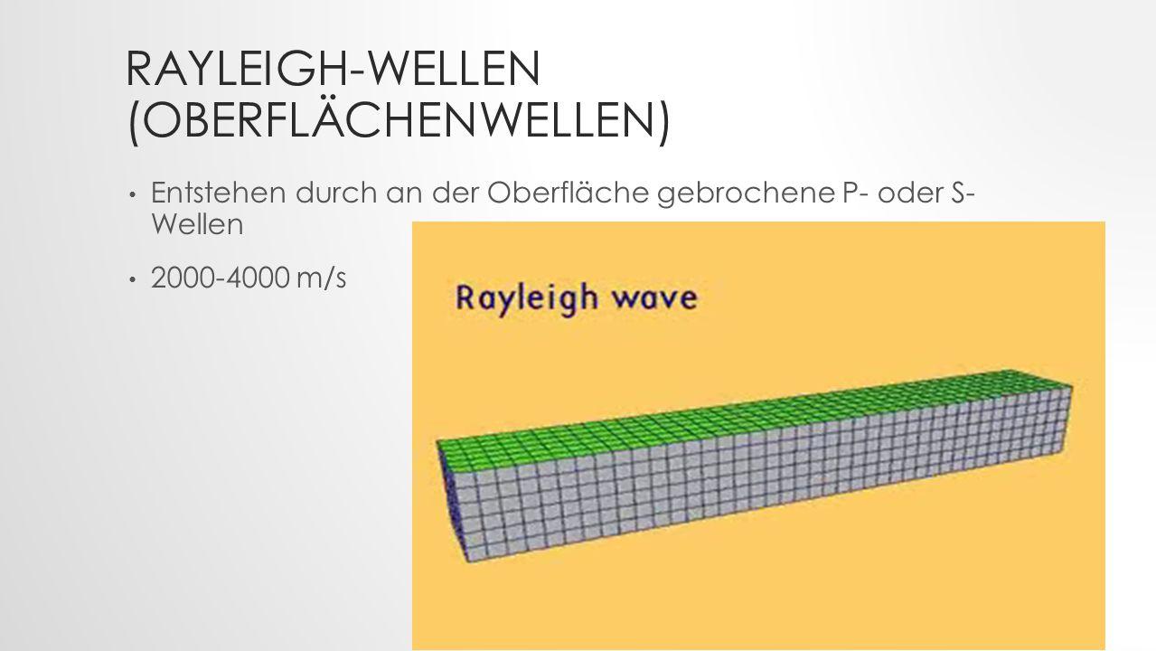 LOVE-WELLEN (OBERFLÄCHENWELLEN) Entstehen durch die Reflektion von S-Wellen 2000-4400 m/s