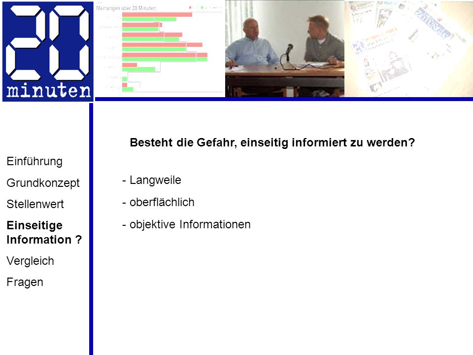 Einführung Grundkonzept Stellenwert Einseitige Information ? Vergleich Fragen