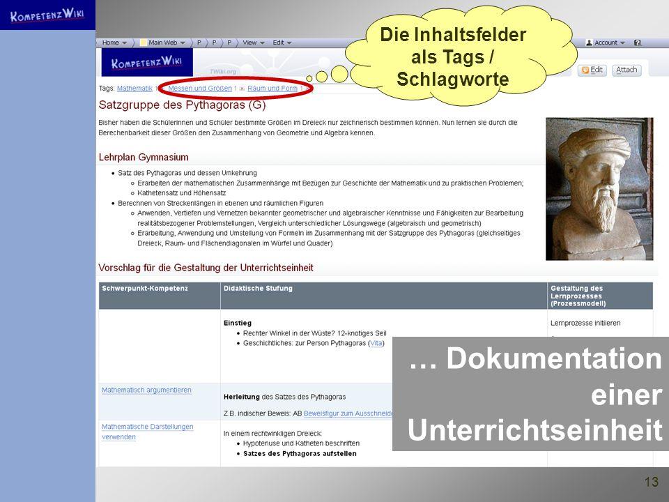 13 … Dokumentation einer Unterrichtseinheit Die Inhaltsfelder als Tags / Schlagworte