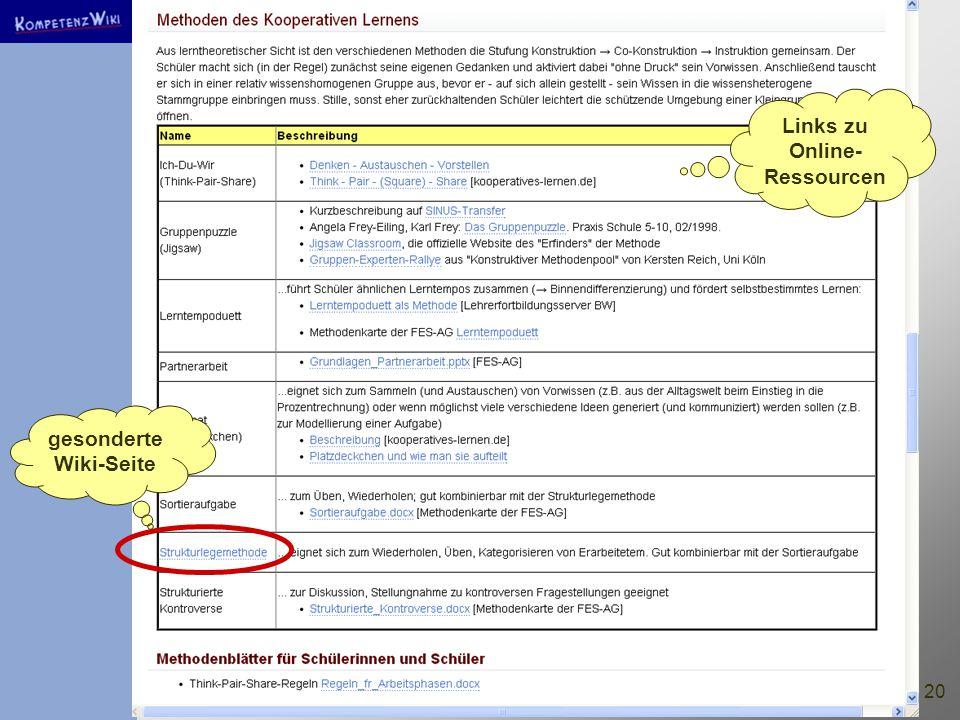 20 Links zu Online- Ressourcen gesonderte Wiki-Seite