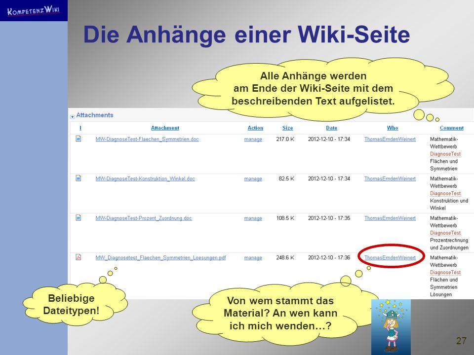 27 Die Anhänge einer Wiki-Seite Alle Anhänge werden am Ende der Wiki-Seite mit dem beschreibenden Text aufgelistet.