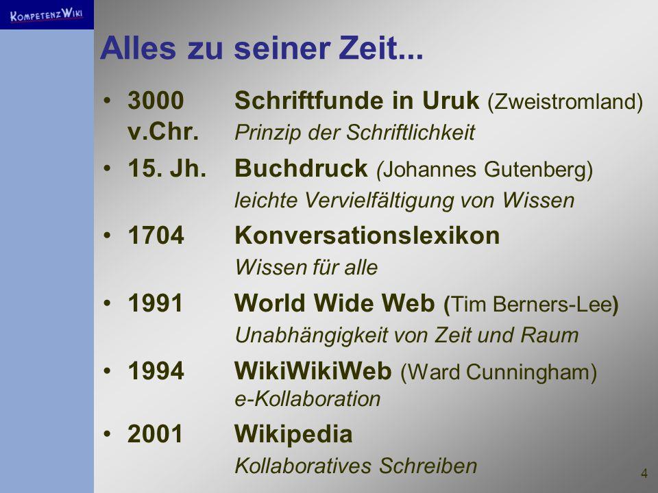 4 Alles zu seiner Zeit... 3000Schriftfunde in Uruk (Zweistromland) v.Chr.