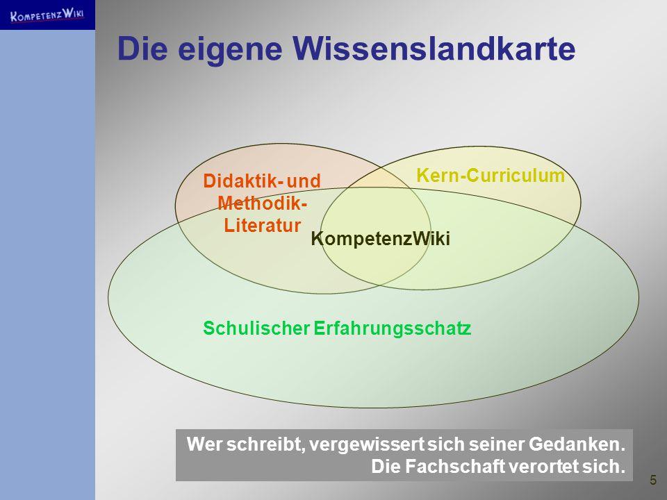 5 Die eigene Wissenslandkarte Didaktik- und Methodik- Literatur Kern-Curriculum Schulischer Erfahrungsschatz KompetenzWiki Wer schreibt, vergewissert sich seiner Gedanken.