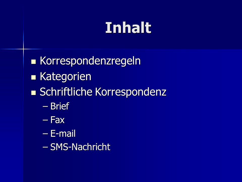 Inhalt Korrespondenzregeln Korrespondenzregeln Kategorien Kategorien Schriftliche Korrespondenz Schriftliche Korrespondenz –Brief –Fax –E-mail –SMS-Nachricht