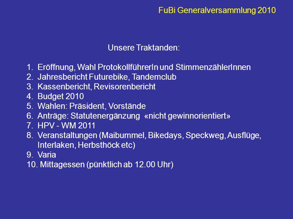 FuBi Generalversammlung 2010 Mein FuBi-Jahr begann mit Speckweg: