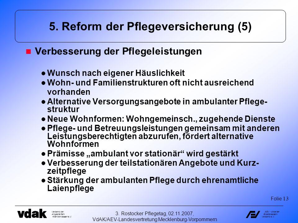Verband der Angestellten- Krankenkassen e.V. AEV - Arbeiter- Ersatzkassen- Verband e.V. 3. Rostocker Pflegetag, 02.11.2007, VdAK/AEV-Landesvertretung