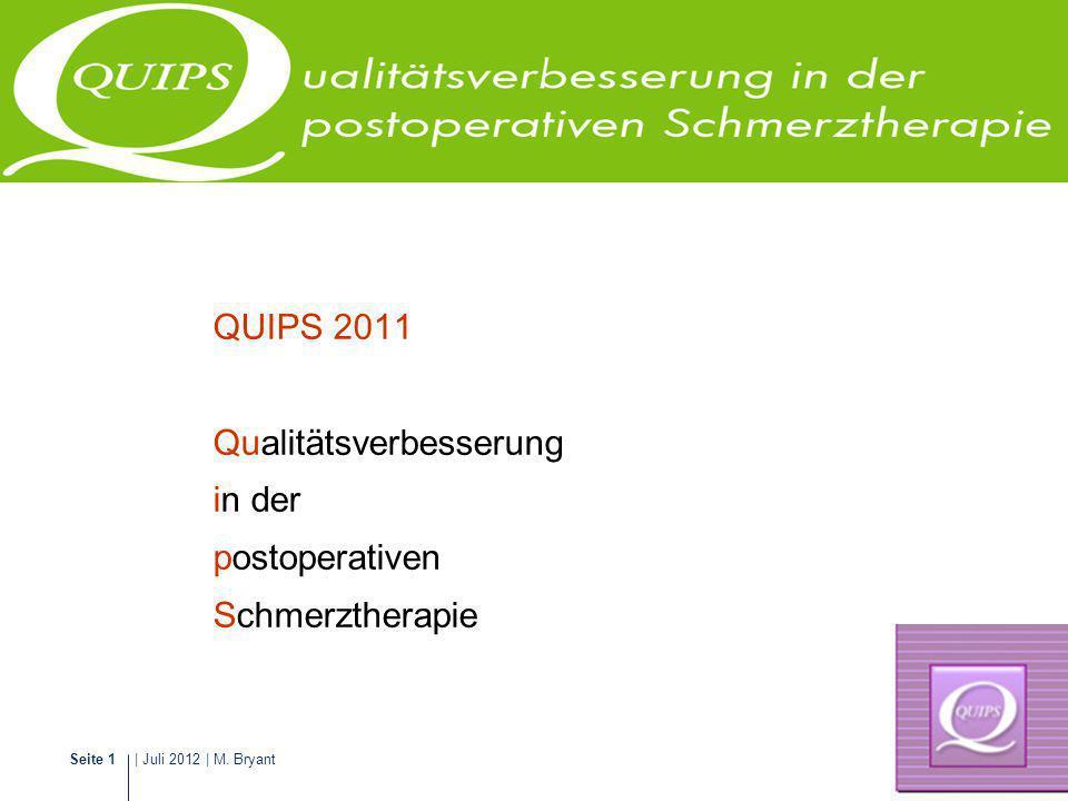 | Juli 2012 | M. BryantSeite 1 Schmerzmanagement QUIPS 2011 Qualitätsverbesserung in der postoperativen Schmerztherapie