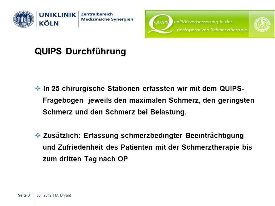 | Juli 2012 | M. BryantSeite 3 Schmerzmanagement QUIPS Durchführung In 25 chirurgische Stationen erfassten wir mit dem QUIPS- Fragebogen jeweils den m