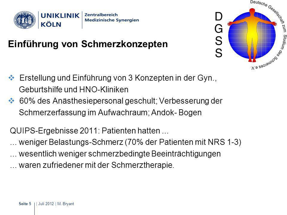 | Juli 2012 | M. BryantSeite 5 Schmerzmanagement Erstellung und Einführung von 3 Konzepten in der Gyn., Geburtshilfe und HNO-Kliniken 60% des Anästhes