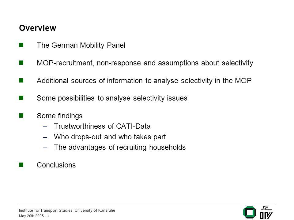 Institute for Transport Studies, University of Karlsruhe May 20th 2005 - 22 Untersuchung der Selektivität im MOP: Analyse – Ansätze und Methoden Frage: Wie sehr wirken sich Selektivitäten in der Anwerbung auf die im Panel gemessene Mobilität aus .