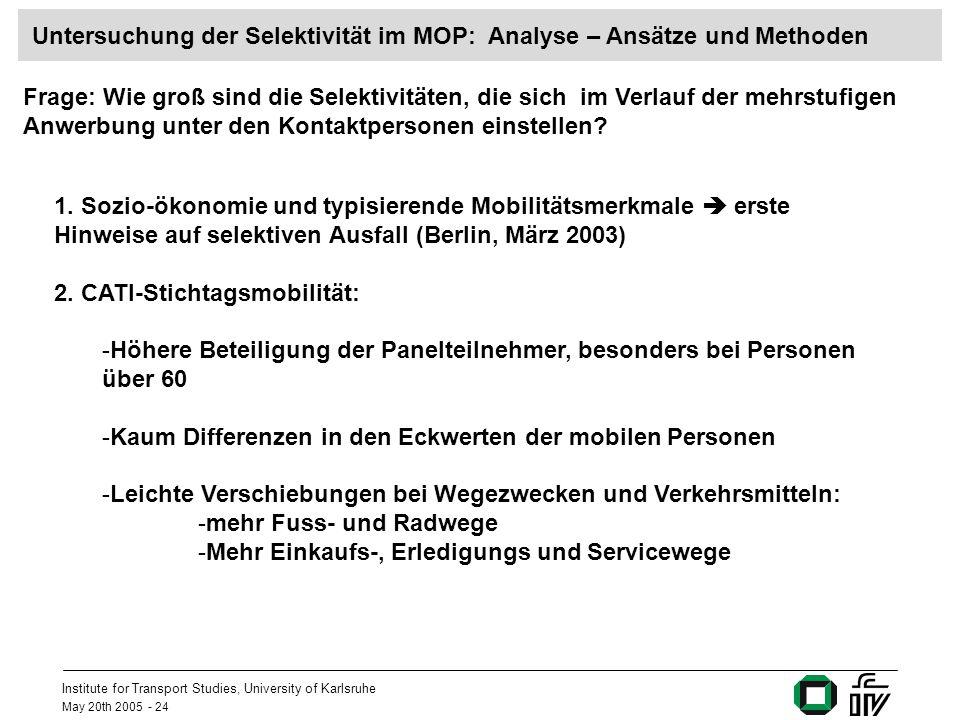 Institute for Transport Studies, University of Karlsruhe May 20th 2005 - 24 Untersuchung der Selektivität im MOP: Analyse – Ansätze und Methoden Frage: Wie groß sind die Selektivitäten, die sich im Verlauf der mehrstufigen Anwerbung unter den Kontaktpersonen einstellen.