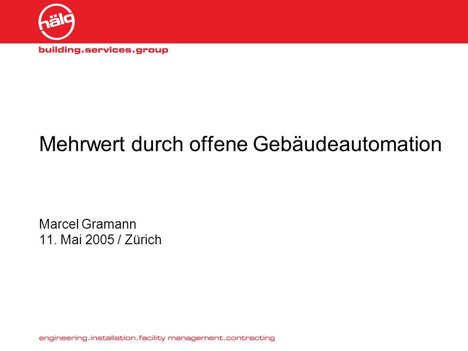 Mehrwert durch offene Gebäudeautomation Marcel Gramann 11. Mai 2005 / Zürich