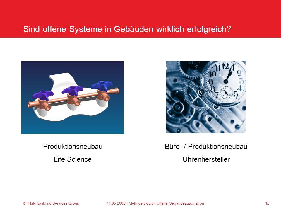 © Hälg Building Services Group 11.05.2005 | Mehrwert durch offene Gebäudeautomation 12 Sind offene Systeme in Gebäuden wirklich erfolgreich.