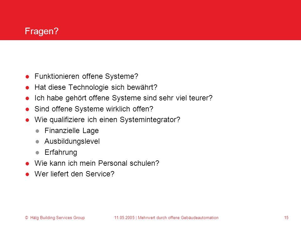 © Hälg Building Services Group 11.05.2005 | Mehrwert durch offene Gebäudeautomation 15 Fragen.