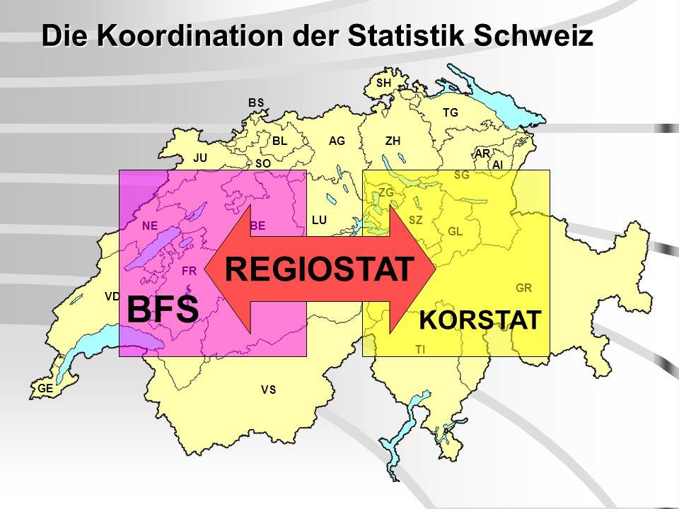 GE NE FR BE JU LU TI GR VS UR AG TG SG AR AI SZ GL SH ZG SO BL BS ZH VD OW NW Die Koordination der Statistik Schweiz BFS KORSTAT REGIOSTAT