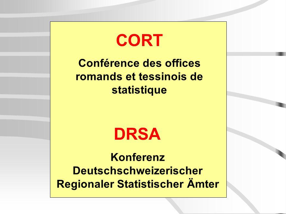CORT DRSA Conférence des offices romands et tessinois de statistique Konferenz Deutschschweizerischer Regionaler Statistischer Ämter
