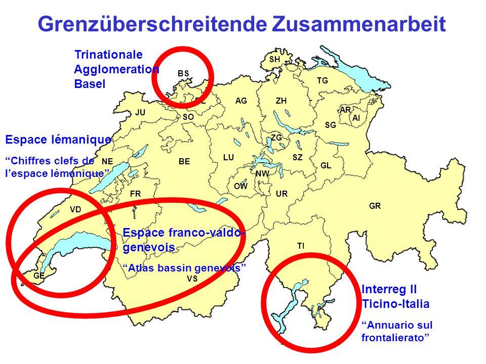 GE NE FR BE JU LU TI GR VS UR AG TG SG AR AI SZ GL SH ZG SO BL BS ZH VD OW NW Grenzüberschreitende Zusammenarbeit Interreg II Ticino-Italia Annuario sul frontalierato Trinationale Agglomeration Basel Espace lémanique Chiffres clefs de lespace lémanique Espace franco-valdo- genevois Atlas bassin genevois