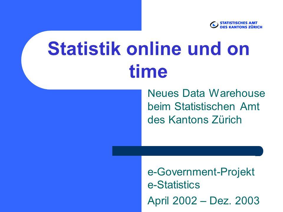 Neues Data Warehouse beim Statistischen Amt des Kantons Zürich e-Government-Projekt e-Statistics April 2002 – Dez. 2003 Statistik online und on time