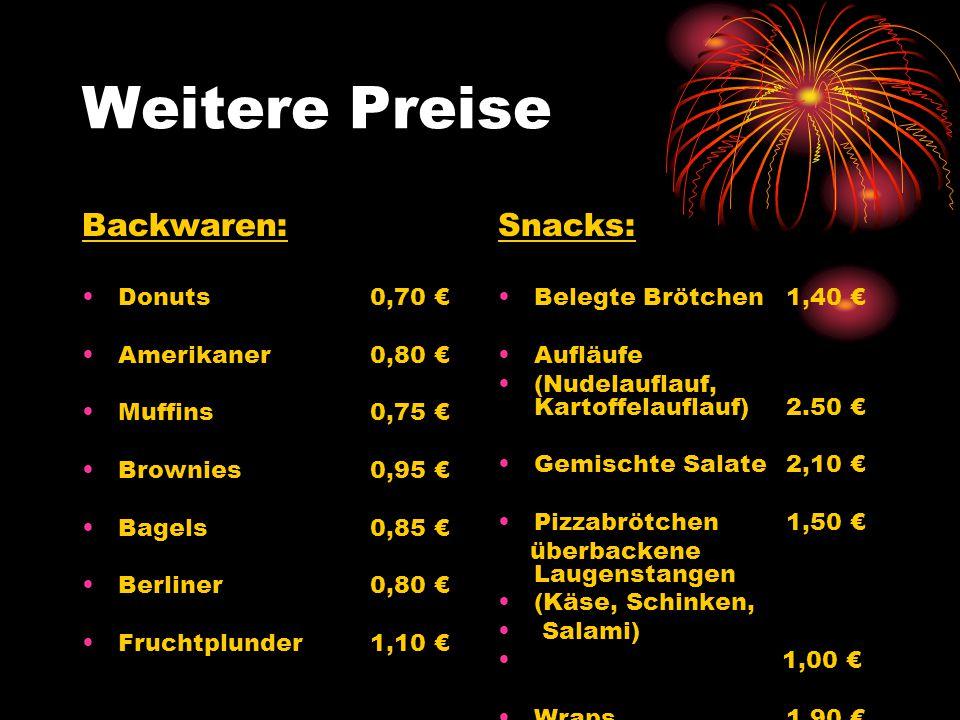 Weitere Preise Backwaren: Donuts0,70 Amerikaner 0,80 Muffins0,75 Brownies0,95 Bagels0,85 Berliner 0,80 Fruchtplunder1,10 Snacks: Belegte Brötchen1,40 Aufläufe (Nudelauflauf, Kartoffelauflauf)2.50 Gemischte Salate2,10 Pizzabrötchen1,50 überbackene Laugenstangen (Käse, Schinken, Salami) 1,00 Wraps1,90