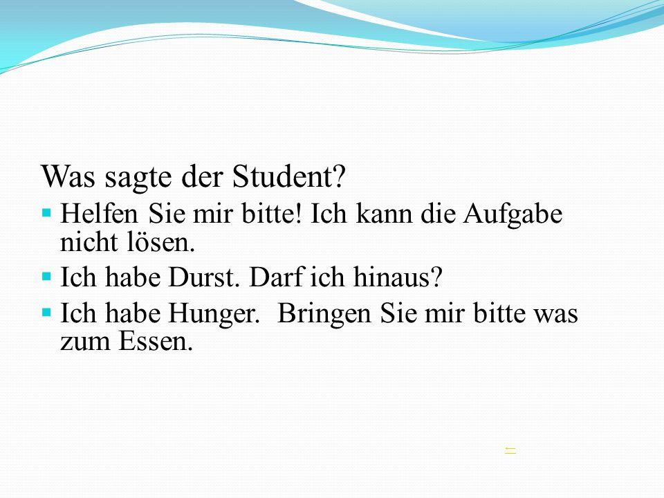 Was sagte der Student? Helfen Sie mir bitte! Ich kann die Aufgabe nicht lösen. Ich habe Durst. Darf ich hinaus? Ich habe Hunger. Bringen Sie mir bitte