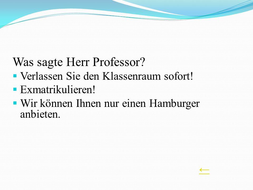 Was sagte Herr Professor? Verlassen Sie den Klassenraum sofort! Exmatrikulieren! Wir können Ihnen nur einen Hamburger anbieten.