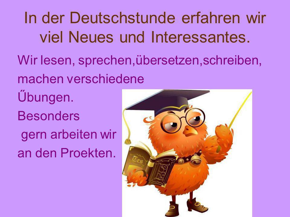 In der Deutschstunde erfahren wir viel Neues und Interessantes. Wir lesen, sprechen,übersetzen,schreiben, machen verschiedene Űbungen. Besonders gern