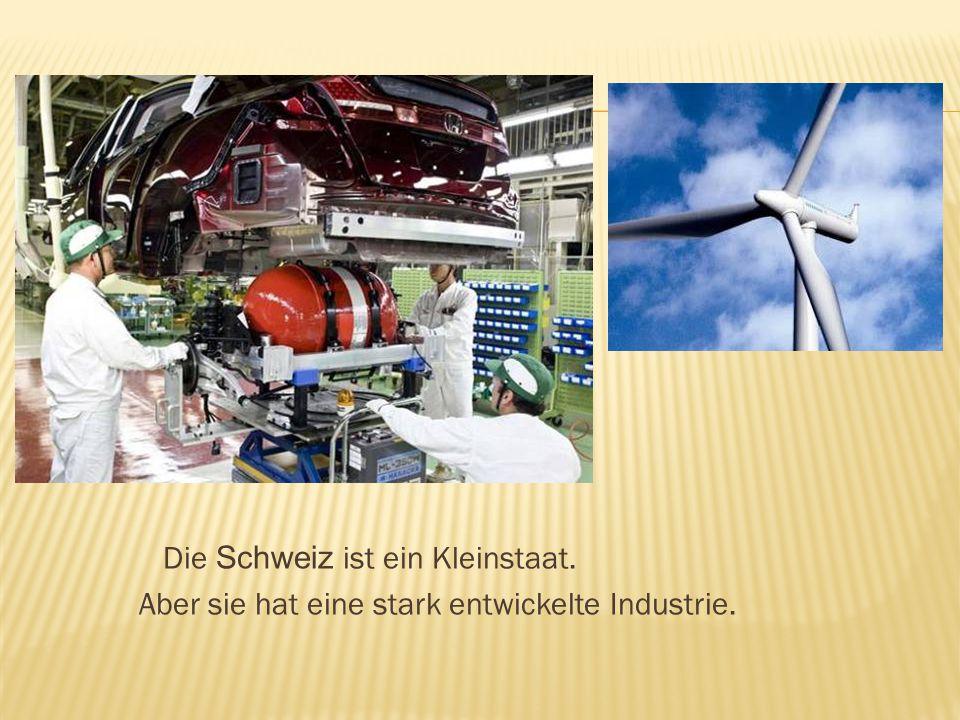 Die Schweiz ist ein Kleinstaat. Aber sie hat eine stark entwickelte Industrie.